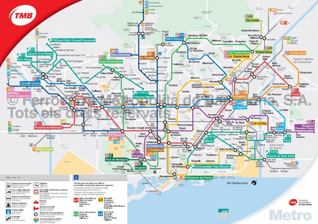 Carte du métro de Barcelone